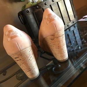 Toms cork wedges, worn twice sz 8
